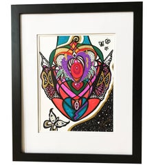 """Framed Abstract """"The Unknown Journey"""" Mixed-Media on Paper by Laurel Rosenberg"""
