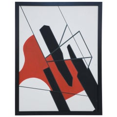 Framed Acrylic Abstract Painting of Geometric Shapes in Black, Red, and White