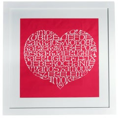 Framed Alexander Girard International Love Heart Fabric