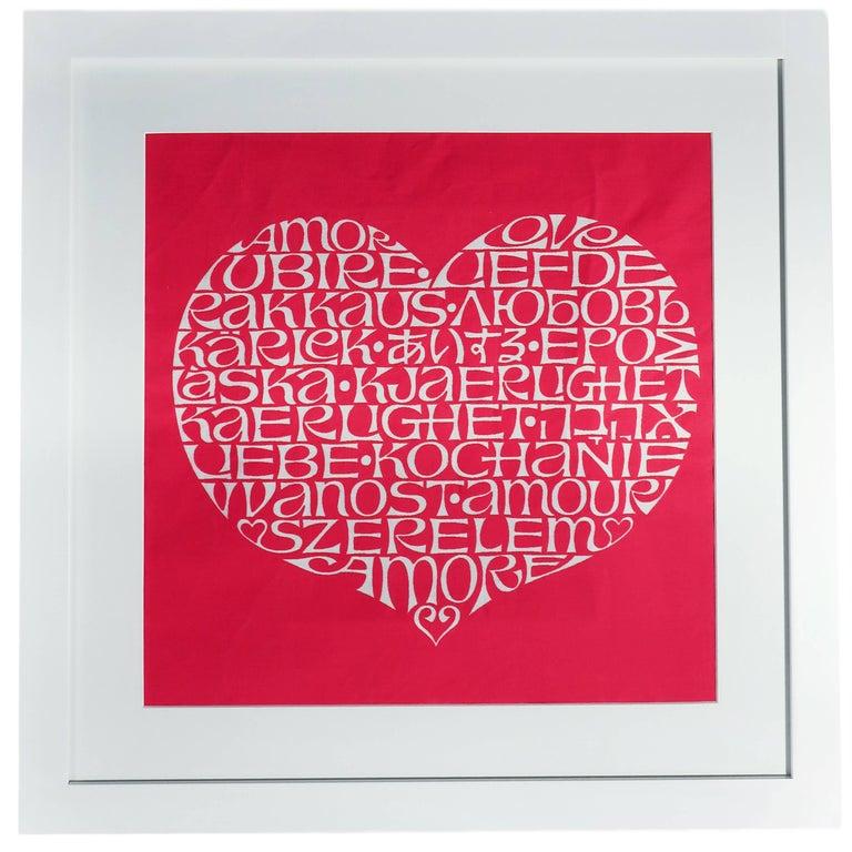 Framed Alexander Girard International Love Heart Fabric