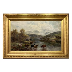 Framed and Signed English Oil Painting of River Landscape by Andrew Lennox