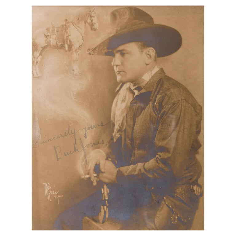 Framed and Signed Photograph of Buck Jones In Excellent Condition For Sale In Coeur d'Alene, ID