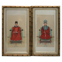 Framed Antique Chinese Ancestral Portrait Prints of Man and Woman, circa 1920