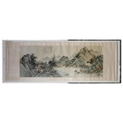Framed Antique Chinese Landscape Ink Painting Zhou QiaoNian Qing Dynasty