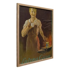 Framed Antique Cocoa Advertisement, English, Lutona Poster, Victorian circa 1900