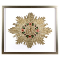 Framed Antique Embroidered Religious Textile Fragment Found in France