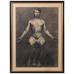 Framed Antique French Academic Life Drawing Male Nude, circa 1890