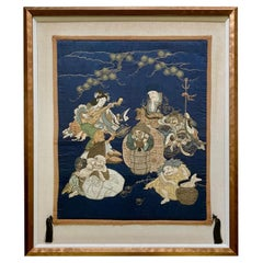 Framed Antique Japanese Embroidery Fukusa Panel