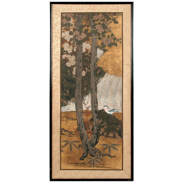 Framed Antique Japanese Landscape Painting Edo Period For Sale
