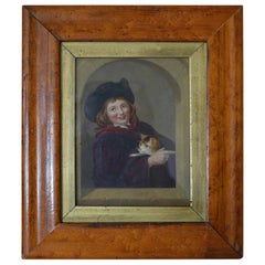 Framed Antique Print of a Boy Holding a Cat, English, circa 1850