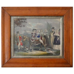 Framed Antique Print of a Royal Party, English, circa 1850