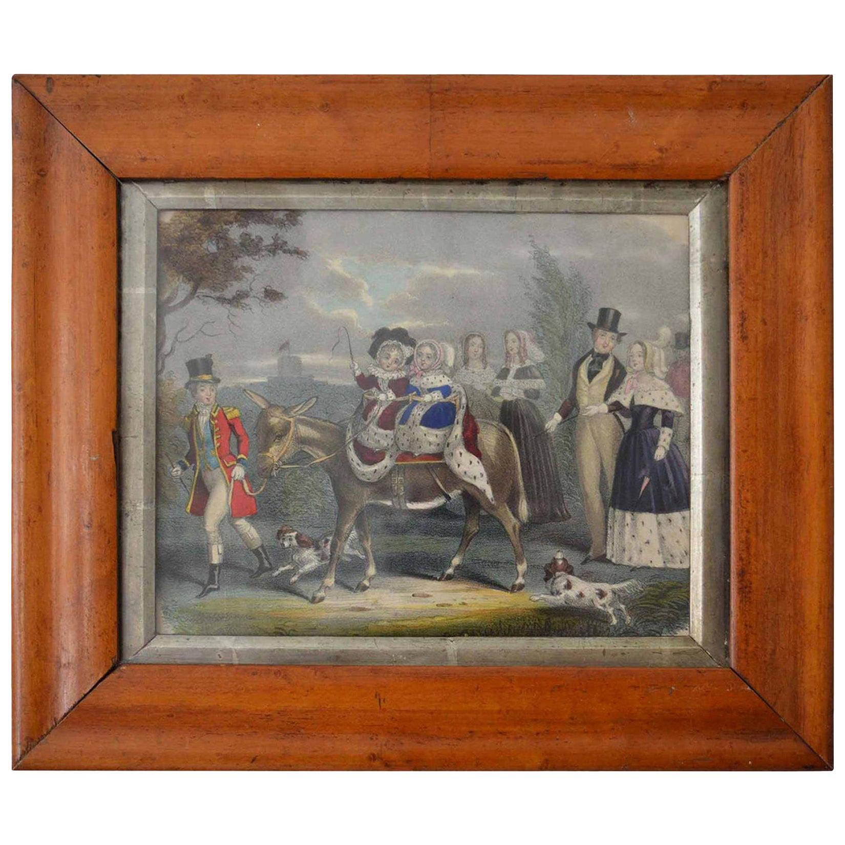 Framed Antique Print of a Royal Party, English, circa 1850