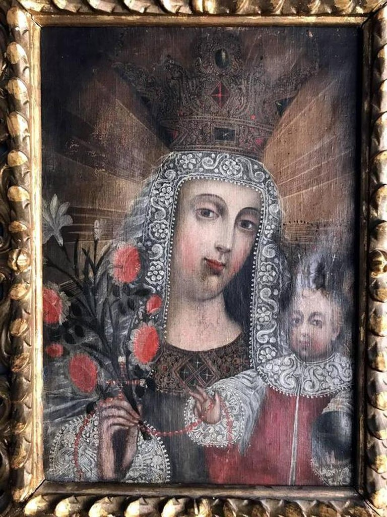 Peruvian Framed Antique Spanish Colonial Painting Cuzco School For Sale