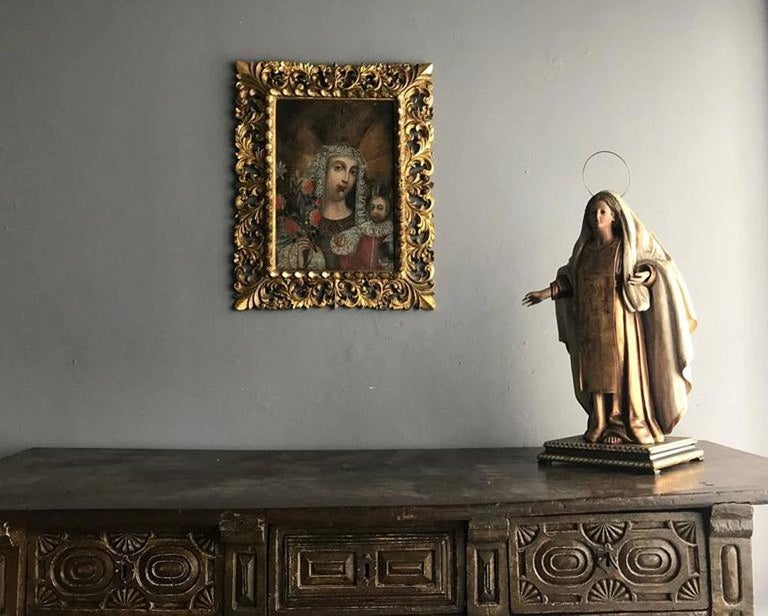 Framed Antique Spanish Colonial Painting Cuzco School In Good Condition For Sale In North Miami, FL