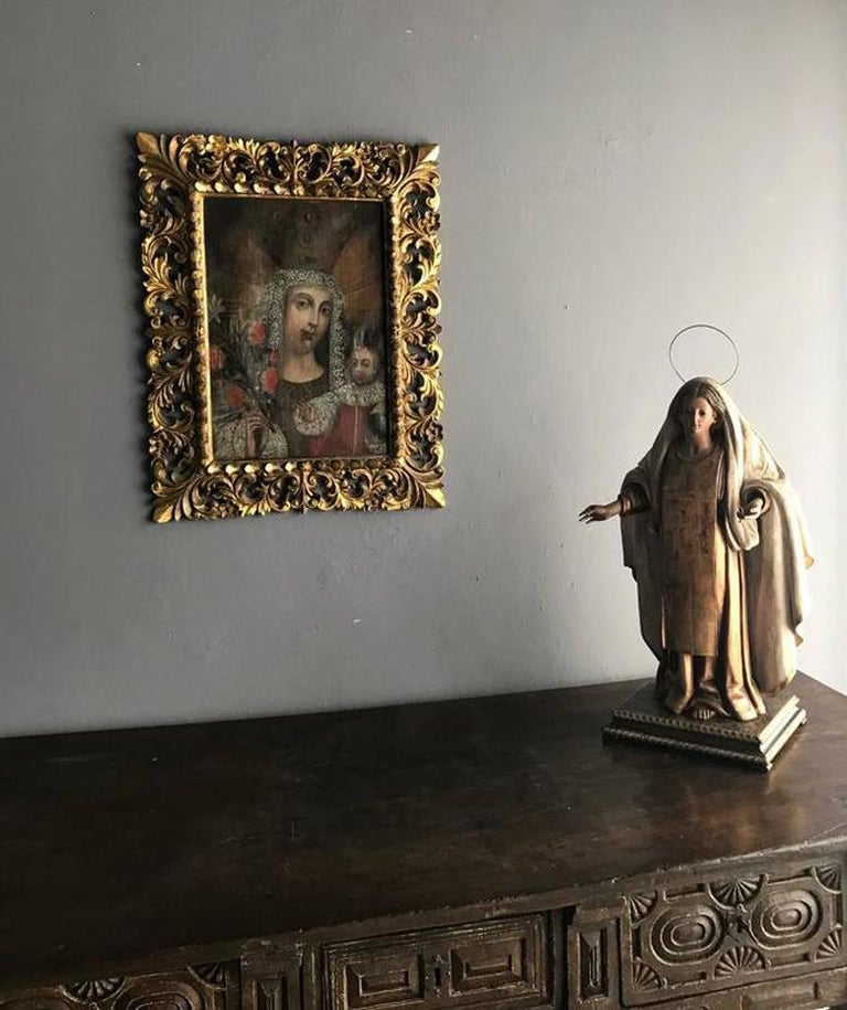 Canvas Framed Antique Spanish Colonial Painting Cuzco School For Sale