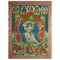 Framed Antique Tibetan Buddhist Thangka