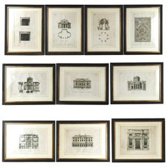 Framed Architectural Engravings, a Set of 10
