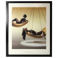 "Framed Art Print ""Flying Chairs"" by Verner Panton in Soft Yellow Colors"