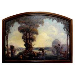 Framed Aubrey Beardsley Style Oil on Canvas, Signed A.E. Hudson