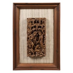 Framed Balinese Carved Wall Panel, Midcentury Decorative Art