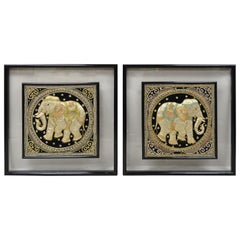 Framed Beaded Embroidered Elephant Padded Tapestry Indian Wall Art, a Pair