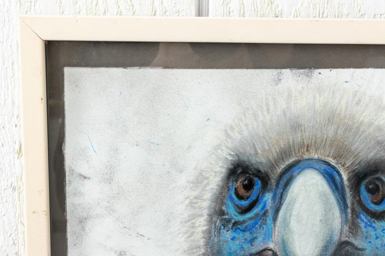 Framed close up illustration of a bird's head by Marianne Stikas based on the series