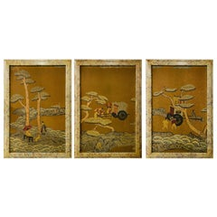Framed Block Printed Asian Japanese Bonsai Tree Wood Panels, Set of 3