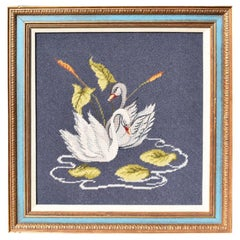 Framed Blue Hand Stitched Embroidered Swan Wall Hanging