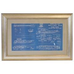 Framed Blueprint of the Yacht Sand Piper