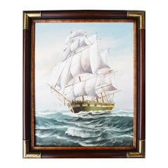 Framed Brass Nautical Maritime Oil on Canvas Painting of Ship at Sea by M. Grant