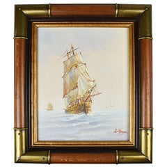 Framed Brass Nautical Maritime Oil on Canvas Painting of Ship at Sea Signed