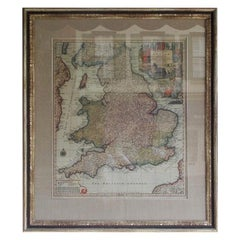 Framed Britannia Map on Parchment Paper Signed by Maker M. Seutteri 18th Century