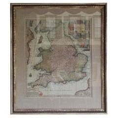 Framed Britannia Map Signed by Maker Matthaus Seutter, Circa 1725
