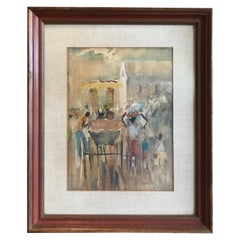 "Framed ""Caribbean Scene"" Watercolor by Frank Boyd, Listed American Artist"