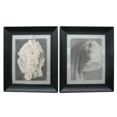 Framed Charcoals on Paper, Pair