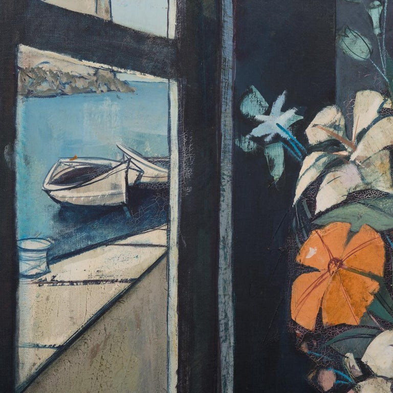 A framed oil painting by Charles Levier titled Fleurs Paus la Chambres signed to reverse, 1970s  This superb example of Levier's work is in absolute original condition and has never been cleaned. It has very soft dusky colours all over with