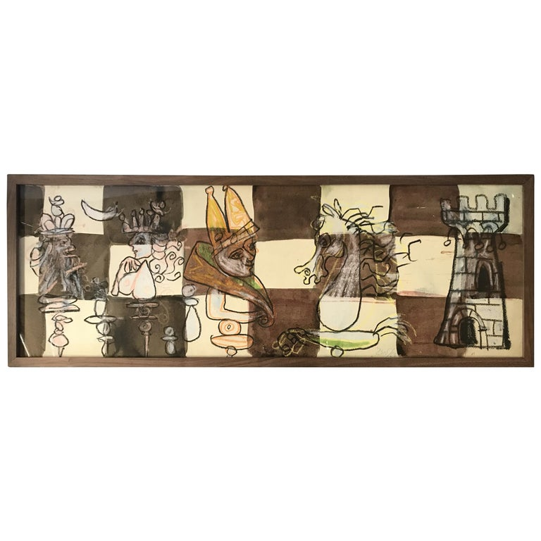 Framed Chess Set Watercolor #2 by Zev Daniel Harris For Sale