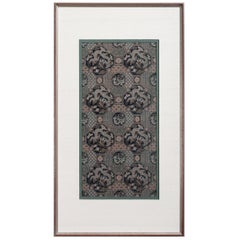 Framed Chinese Antique Brocade Dragon Panel