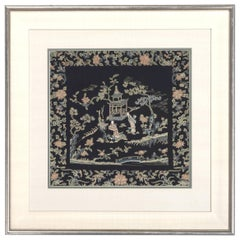 Framed Chinese Antique Textile Qing Dynasty Provenance