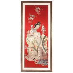 Framed Chinese Embroidery Panel of Longevity Deities