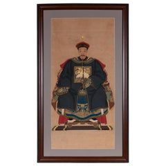 Framed Chinese Qing Dynasty Ancestral Patriarch Portrait, circa 1900