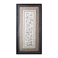 Framed Chinese Silk Embroidered Tapestry Panel with Cranes and Floral Motif