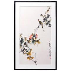 Framed Chinese Watercolor Painting 'Bird on Flower' by Zhao Shao Ang in 1987