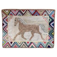 Framed Circa 1889 Folk Art Hook Rug Running Horse Art, Signed PL '89