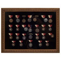 Framed Collection of Bronze and Silver De Lancey School Medallions, circa 1904