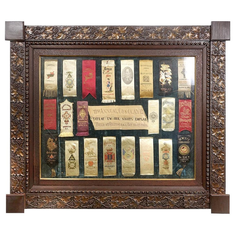 Framed Collection of Knights Templar 1884 Conclave Ribbons For Sale