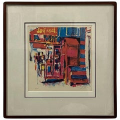 Framed Colorful Abstract Artist Proof Lithograph Signed