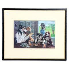 """Framed Dog Print """"Just a Lucky Round"""""""