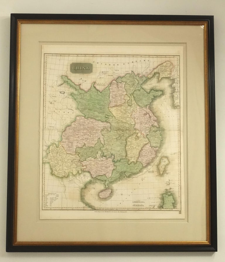 Framed Early 19th Century Drawn and Engraved Map of China In Good Condition For Sale In San Francisco, CA