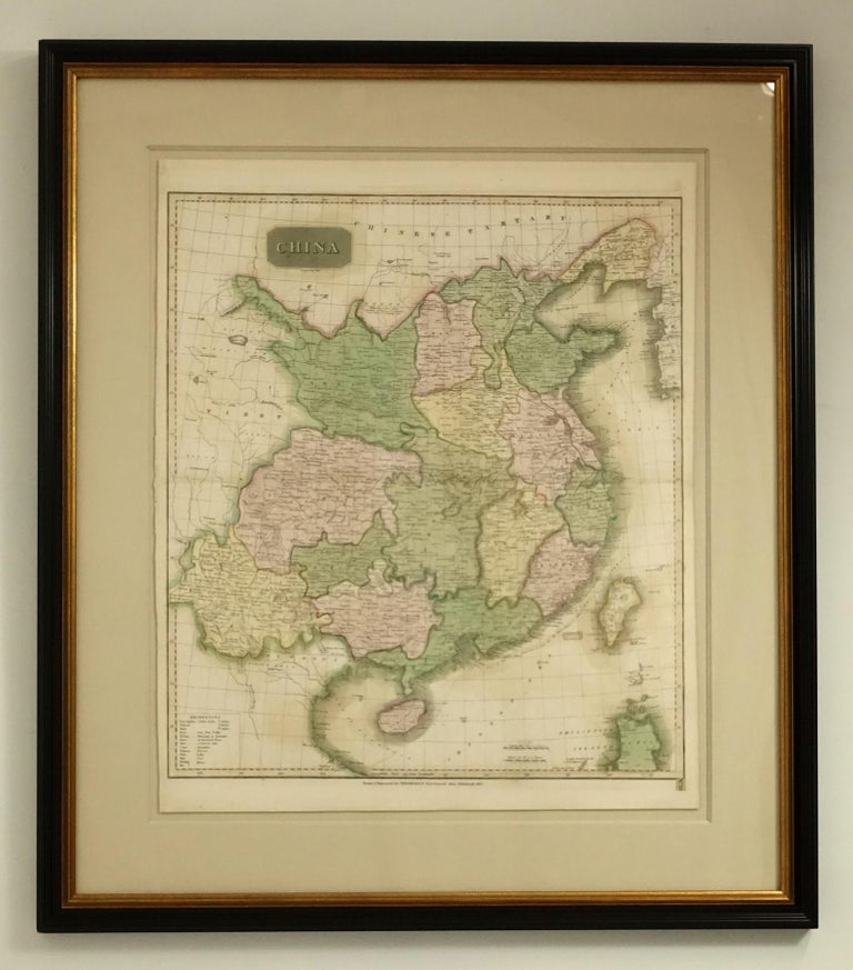 Framed Early 19th Century Drawn and Engraved Map of China For Sale 1